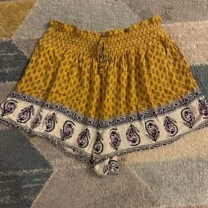 Yellow Flowy Patterned Shorts